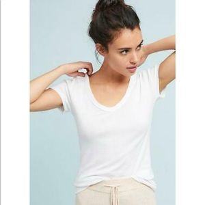 Anthropologie Carrie V-Neck Tee New White XS Top